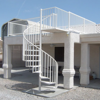 outdoor safe strong tread spiral staircase with stainless steel railing