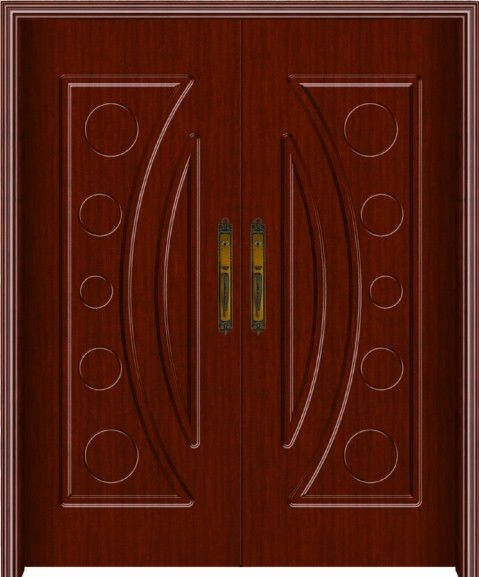High quality double front entry wood doors Embossed