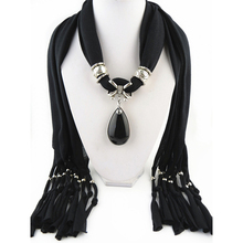 Lady's clothing decoration silvery rings attached black crystal pearl stone cross jewelry scarf