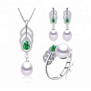Fashion Real S925 Sterling Silver Jewelry Sets Elegant 5A 100% Natural Freshwater Pearl Necklace Sets 3 PCS For Women