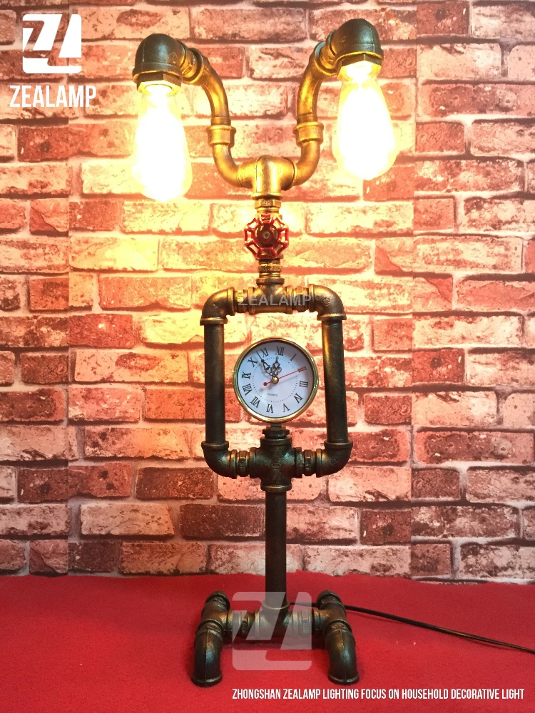 Industrial Style Pipe Lights Steampunk Pipe Table Lamp Edison Lamp Double Head With Clock