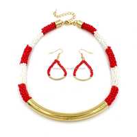 Africa Handmade Acrylic Red & White Beaded Gold Jewelry Earring Necklace Set