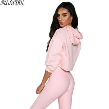 hot selling pink fitted elastic fleece hoody