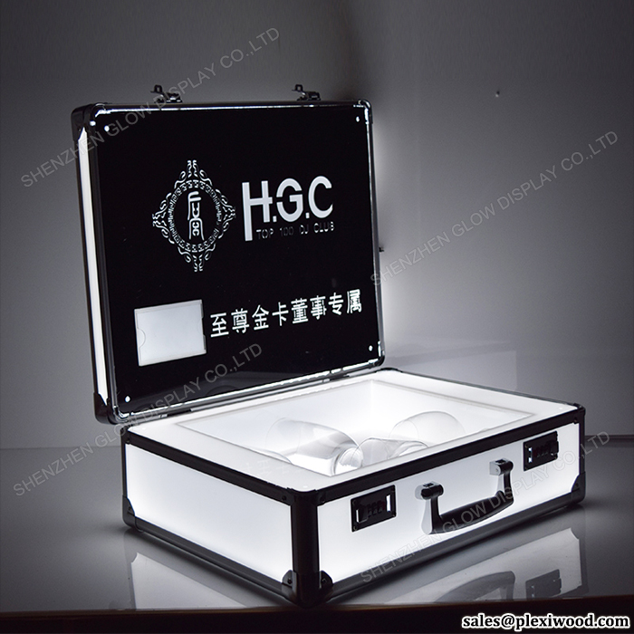 Aluminum Frame Coded Lock Lighted Champagne Bottle Glasses VIP LED Carrying Display Case