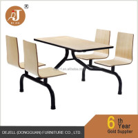 High End Metal and Wood 4 Seater Workers Dining Table and Chair