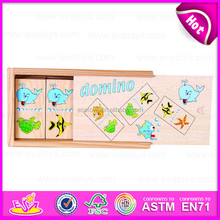 2015 Wooden Domino Kid learning abacus puzzle,Children wooden domino blocks set,Good quality wooden domino with OEM logo W15A029