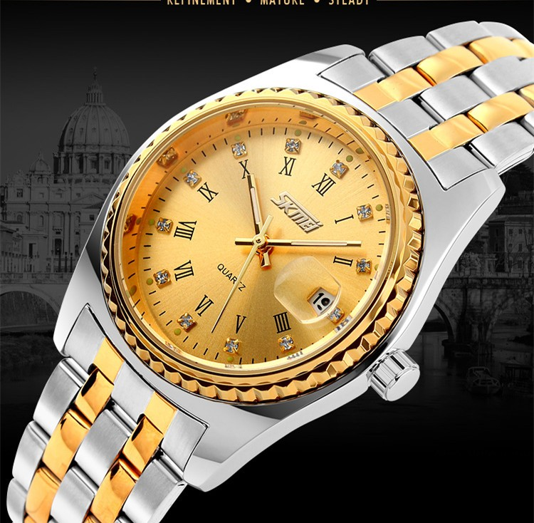 lover couple fashion metal strap wristwatch skmei 9098 waterproof gold watch men with high quality reasonable price