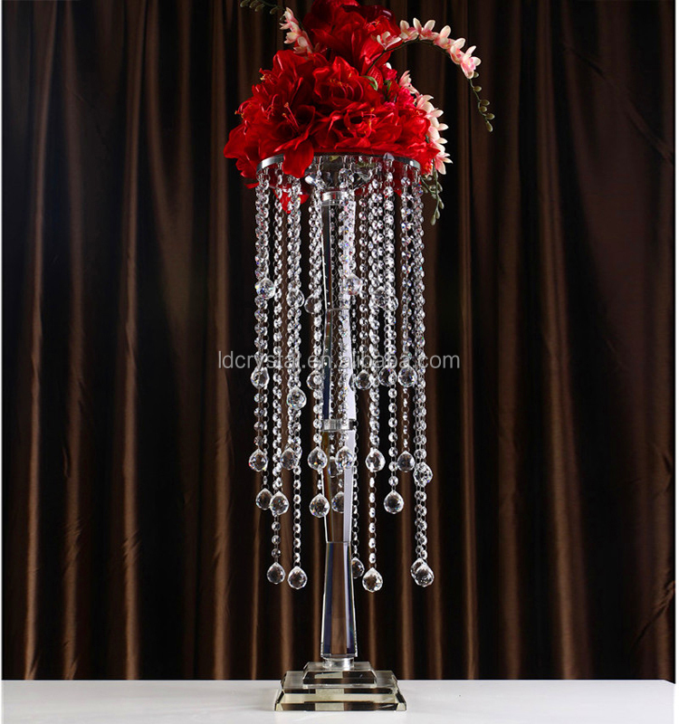 Factory crystal hanging centerpieces clear crystal wedding flower decoration pillar crystal stand