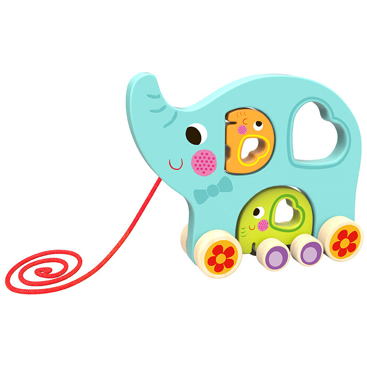 Pull Along Elepgant Toy 3 in 1 Wooden Pull String Toy