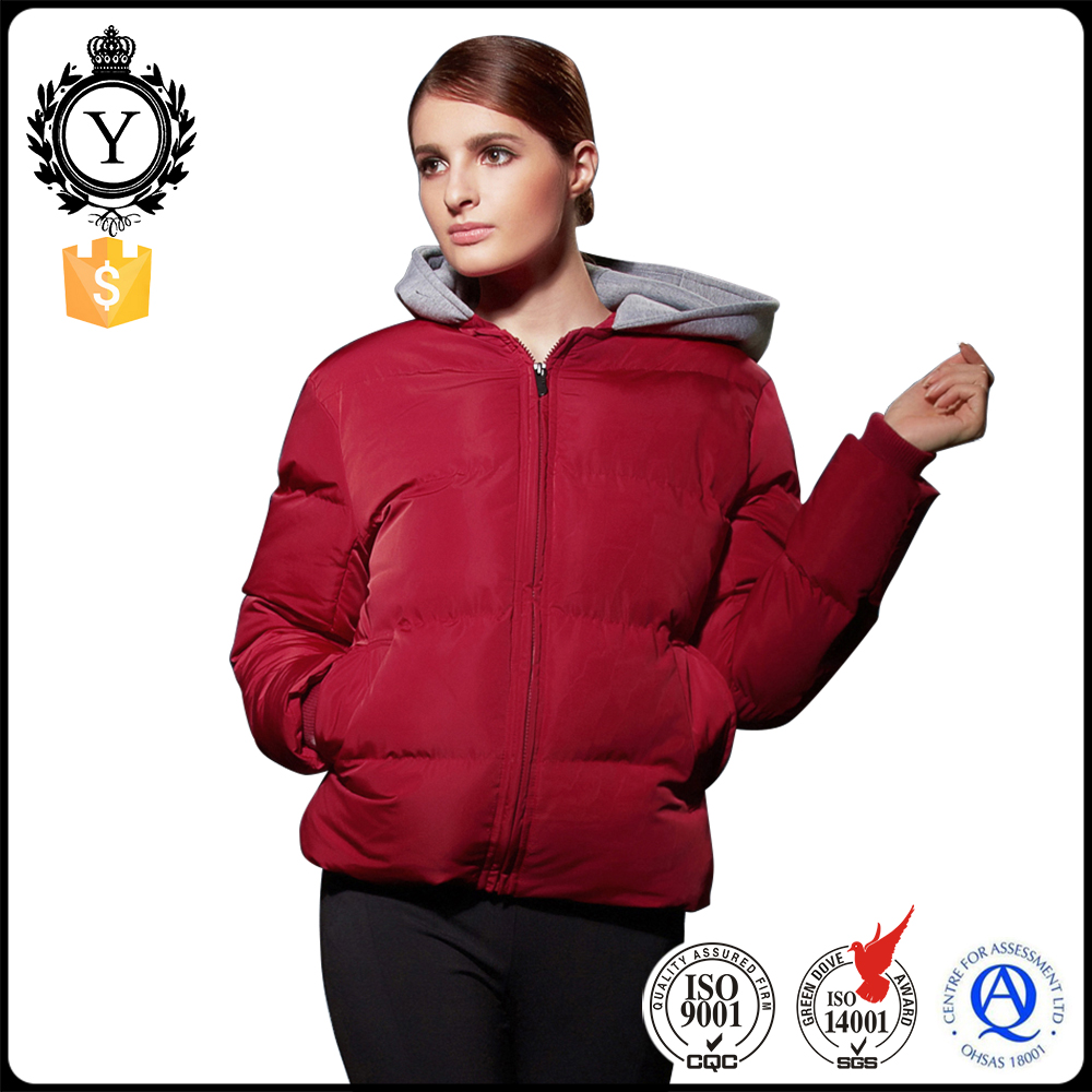 2016 American Brand Red Hooded Windproof Female Goose Bomber Down Jacket