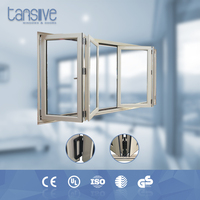 Tansive construction double glazed Aluminum -clad wood Aluminum framed folding window that open