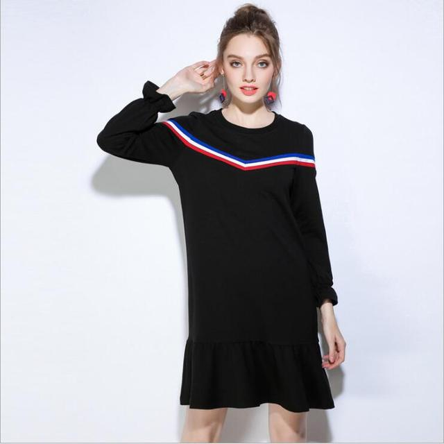 Europe and the United States 2017 autumn new speed pass, wish explosion, EBAY fashion loose tail big yards dress