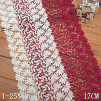 Ivory guipure lace 17cm dark-red GPO lace trim