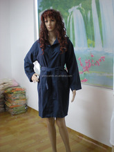 Navy sueded woven microfiber sport bathrobe/lounge robe