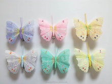 wholesale beautiful 8cm artificial feather butterfly