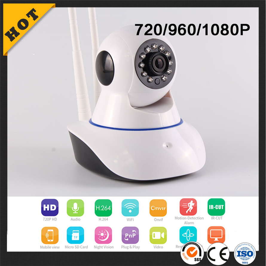 low cost 2017 smart home security system h.264 Two Wifi Cables p2p hd home wifi ip camera for baby monitoring camera