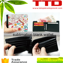 printable sublimation blank personal wallet , soft leather customized wallet for boys