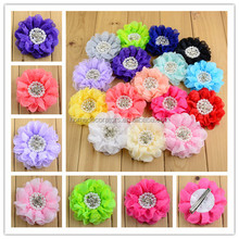 16 colors in Stock Baby Girls 8cm Pearl Rhinestone Lace Chiffon Flowers With Clips For Baby Flower Hairclips Accessary