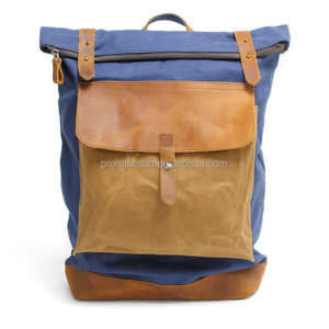 New style British retro style double leather canvas bag school wind canvas laptop backpack