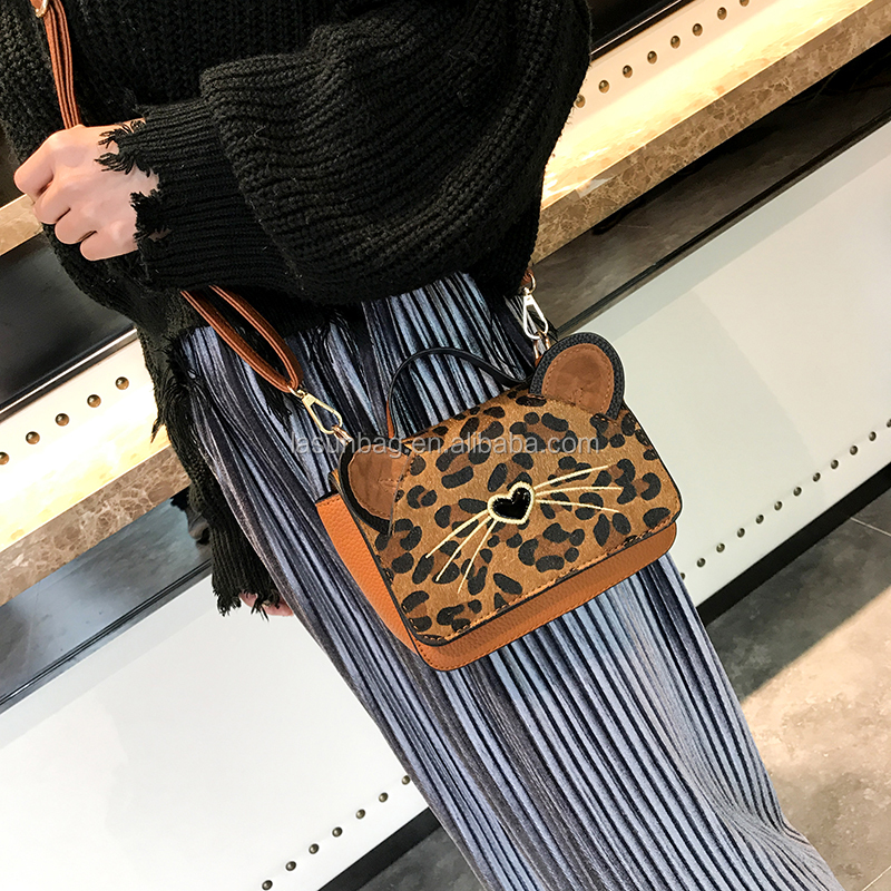Fashion Small Cat Shape Leopard Printing Girls Shoulder Bags