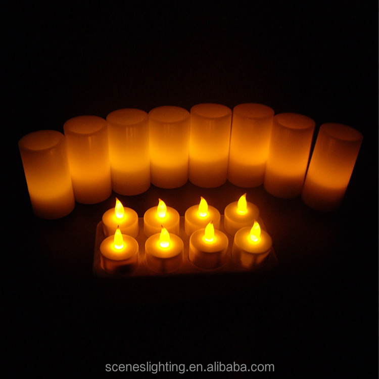 rechargeable electric yellow light cheap plastic led candles set