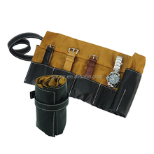 Black PU Leather Watch Roll Pouch Hold Six Watches