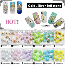 ND-57 Japan sparkly retro oval gemstone nail foiled nail art stone designs