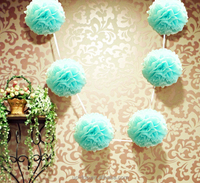Wholesale Raspberry Tissue Pom poms Garlands For Diamond Wedding Decor