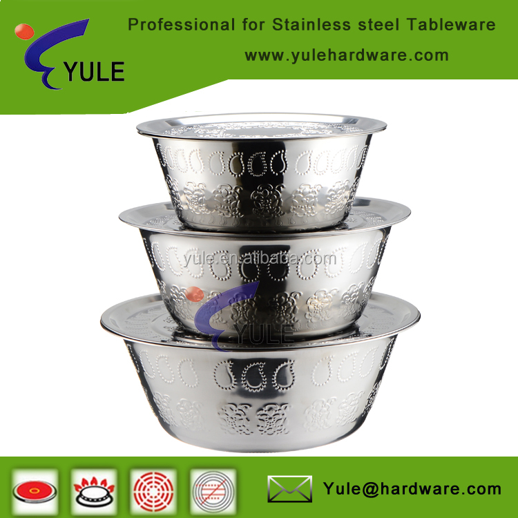 Embossing stainless steel olive container with cover 30/36/40cm
