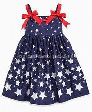 Conice nini brand July 4th child boutique outfits clothing lovely girls star smocked halter party wear dress for kids