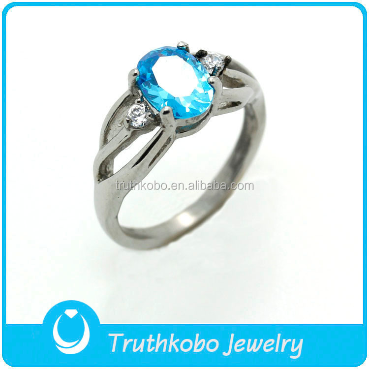 TKB-R0008 Exquisite High Quality silver pure 316L claw inplay white rhinestone blue C.Z hollow Stainless Steel wedding ring