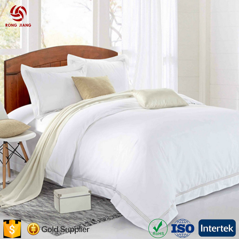 High Quality 300TC Super Soft Satin Egyptian Cotton Bedsheet White Bed Sheet Set