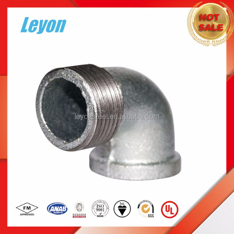 Galvanized elbow malleable iron pipe fitting beaded with rib
