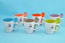 Cute 8OZ elephant design decal printed, color inside drum shaped ceramic coffee mugs/stonware tea cup with spoon, KL8118-481