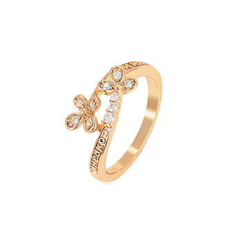 15909 xuping jewelry 18K gold plated clover and clover shaped combination design ring for women