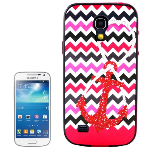 Red Anchor Pattern Plastic Frame TPU Back Cover Protective Case for Samsung Galaxy S4 Mini / i9190