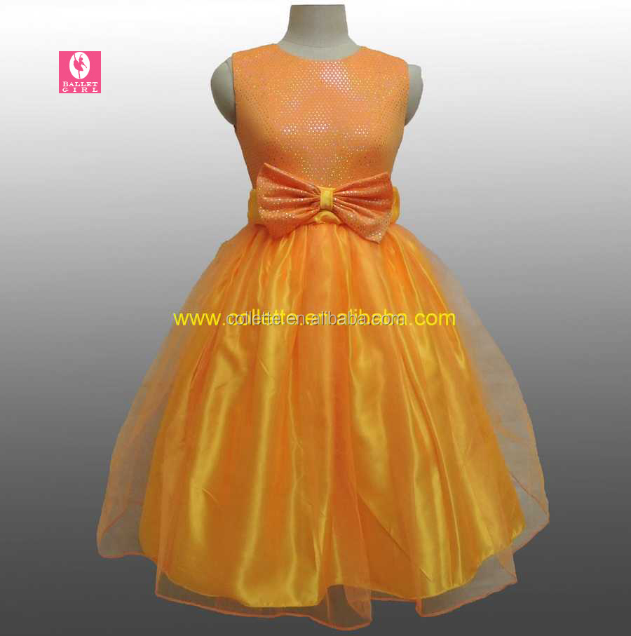 MBQ485 Orange girl's princess ballet fully tulle dance party performance dress