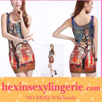 Wholesale big stocks cross strap sun red galaxy dress