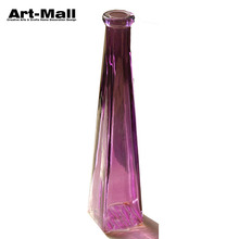 Hot new products Lead free clear slanted transparent purple triangle flower decorative glass vase wholesale