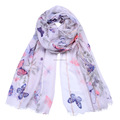 New women butterfly sequin frayed scarf