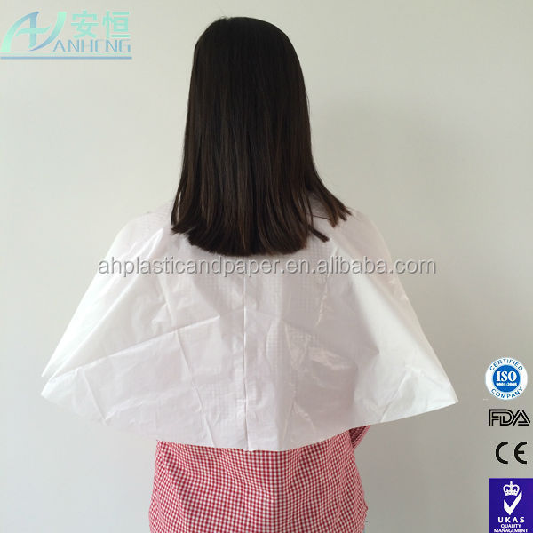 hot selling manufacturer supply pe baber bib/hair cutting capes for salon and barber