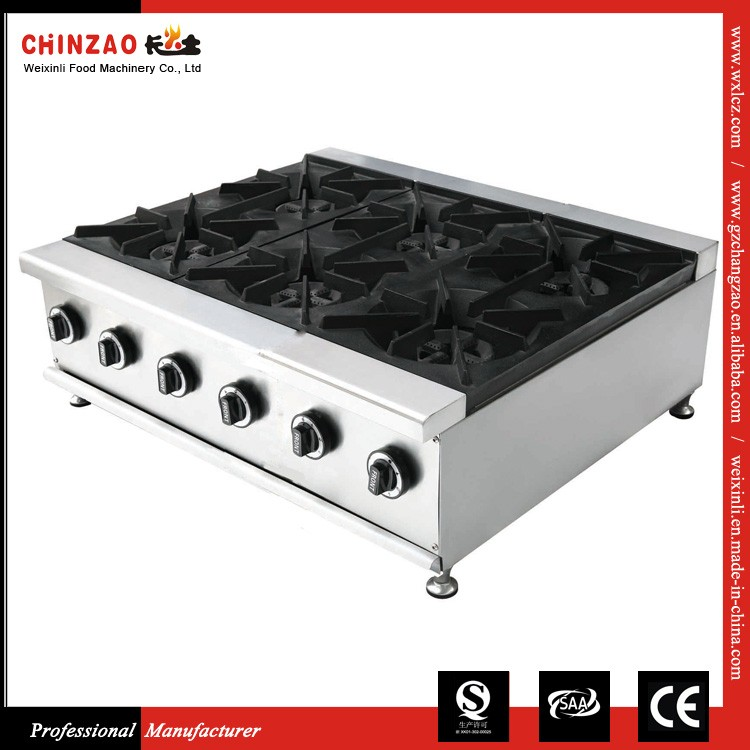 CHINZAO Alibaba Saler Supply Commercial Cooking Machine 6 Burner Gas Stove For Sale