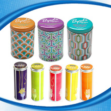 Factory Direct Supply Wholesale Tall Round Tin Box Custom Printed Empty Tea Tin Can