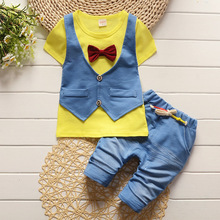 2017 Summer Spring Cotton Baby Boys Clothing Sets Children Vest Fake Two Jacket Tops+ Shorts Kids Formal Clothes Suits