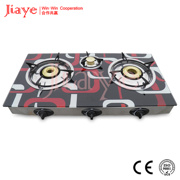3 Burner Glass Table Top Gas Cooker/Gas Burner/Gas Stove with CE certificate JY-TG3016