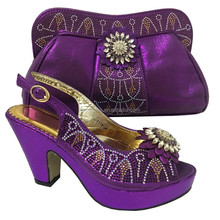 Purple Italian Shoes with Matching Bags for Women Shoe and Bag To Match for Paeties Nigerian Shoes and Bag Sets 6118-26