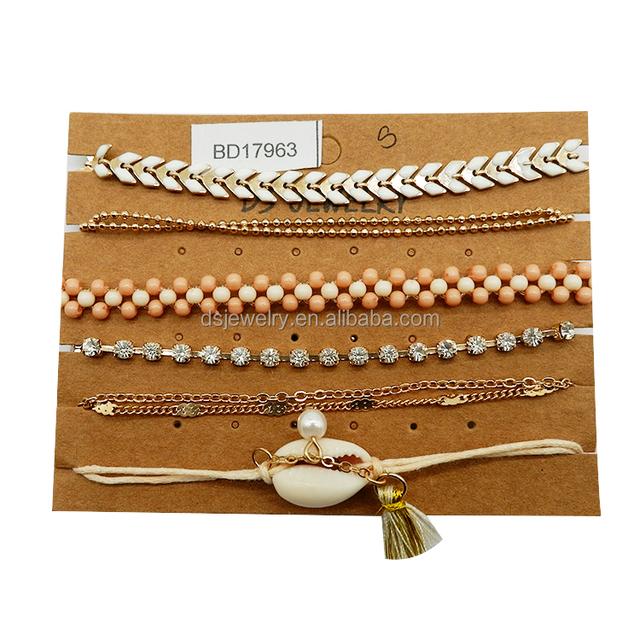 Multilayer braided bangle plastic beads shell pearl diamond bracelet set