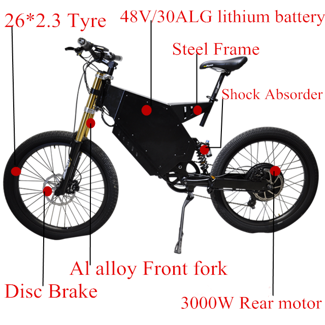 Big power 3000W mountain ebike suspension with 30AH LG battery electric bicycle
