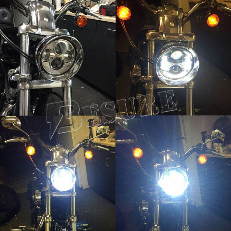 "5.75""/5-3/4'' LED Motorcycle Black/Chrome Projector Daymaker LED Light Bulb Headlight with DRL For Harley Davidson"