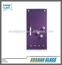 Magnetic key holder memo board with hooks and magnets, 20x40cm, purple